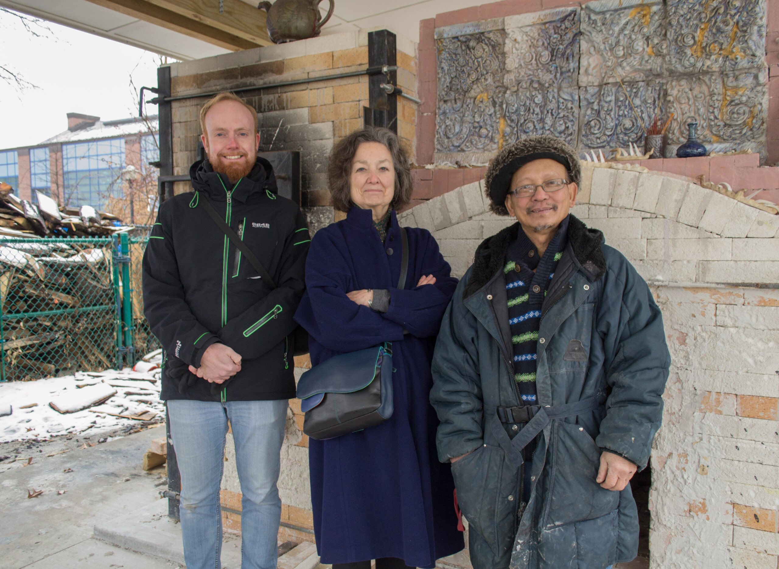 A visit to the kiln. Danny Eijsermans, Louise Cort, and Yary Livan.