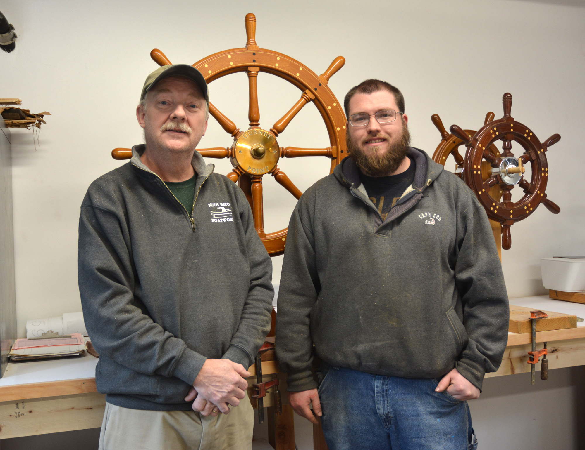 Master craftsman Bob Fuller (left) and apprentice John O'Rourke.