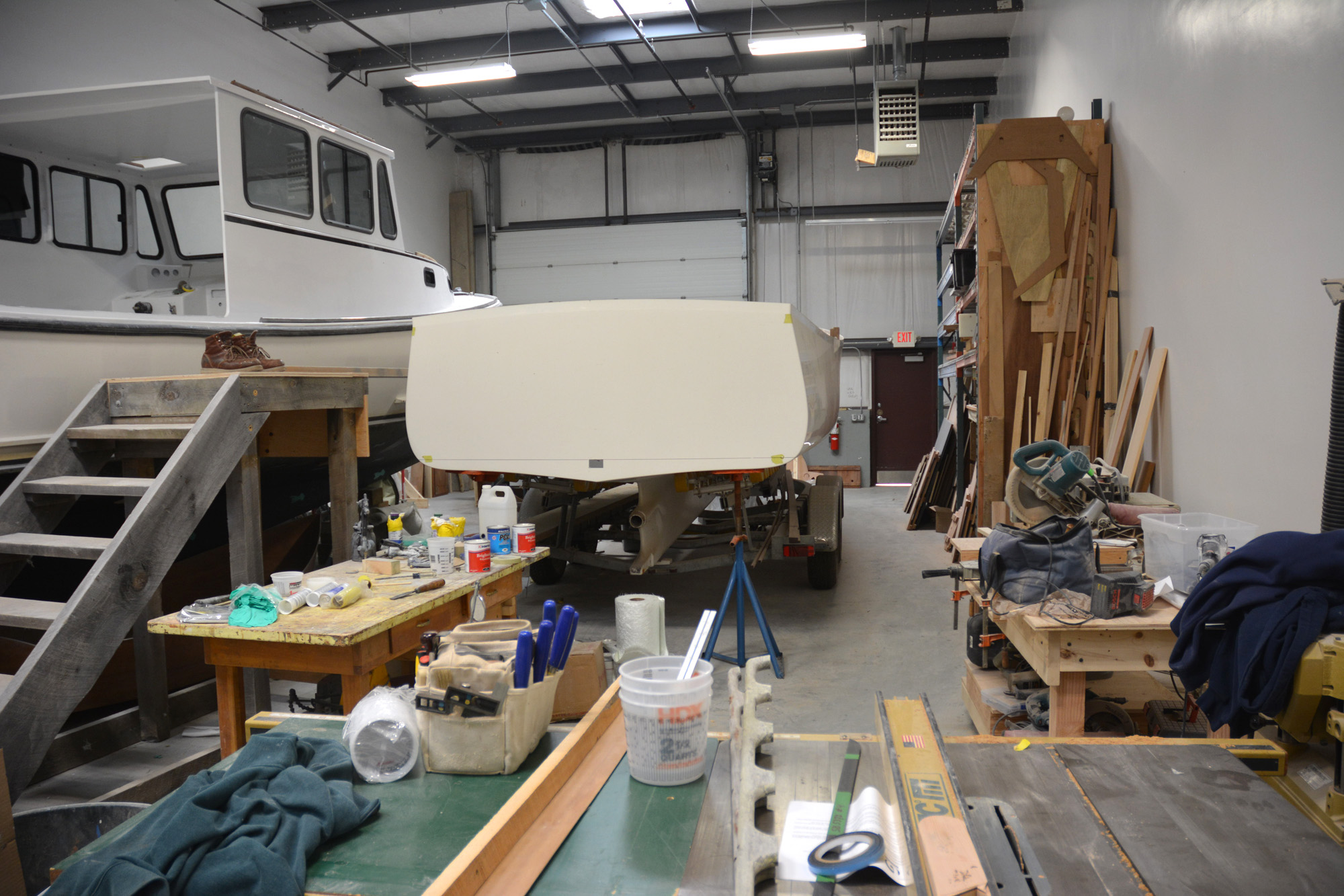 Inside South Shore Boatworks. Lobster boat on left.
