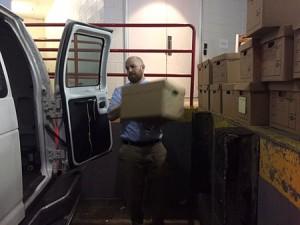 Mike Farley loading truck.