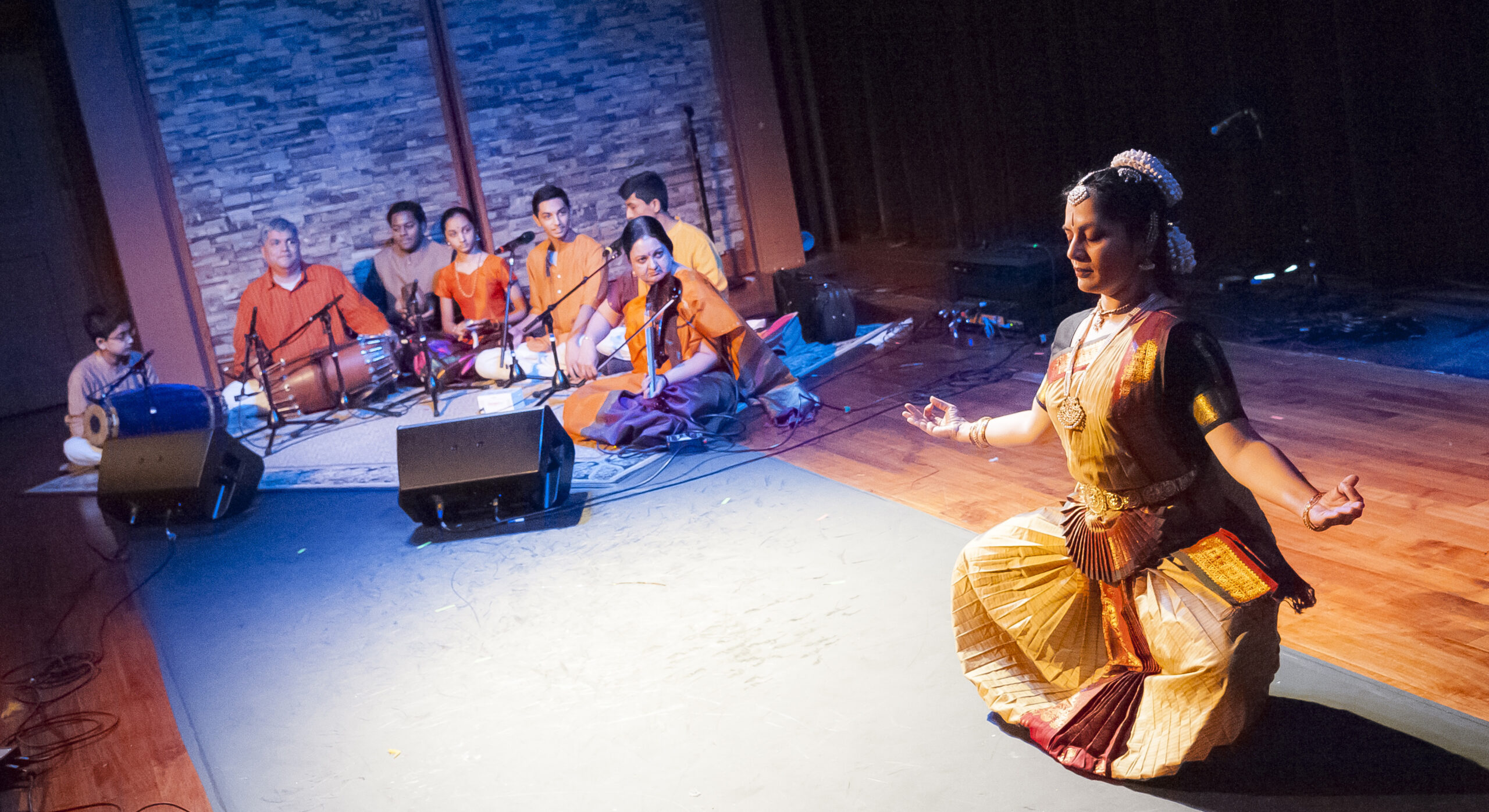 South Indian Carnatic master musicians and apprentices. Bharatanatyam dancer Sridevi Thirumalai.
