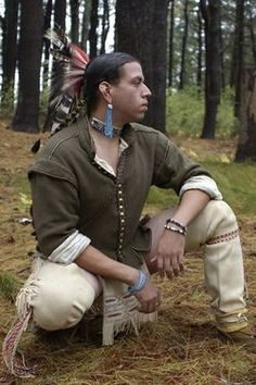 Jonathan James-Perry in traditional Wampanoag dress.