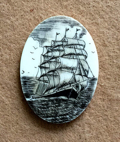 Scrimshaw made by Patricia James-Perry in the 1970s.
