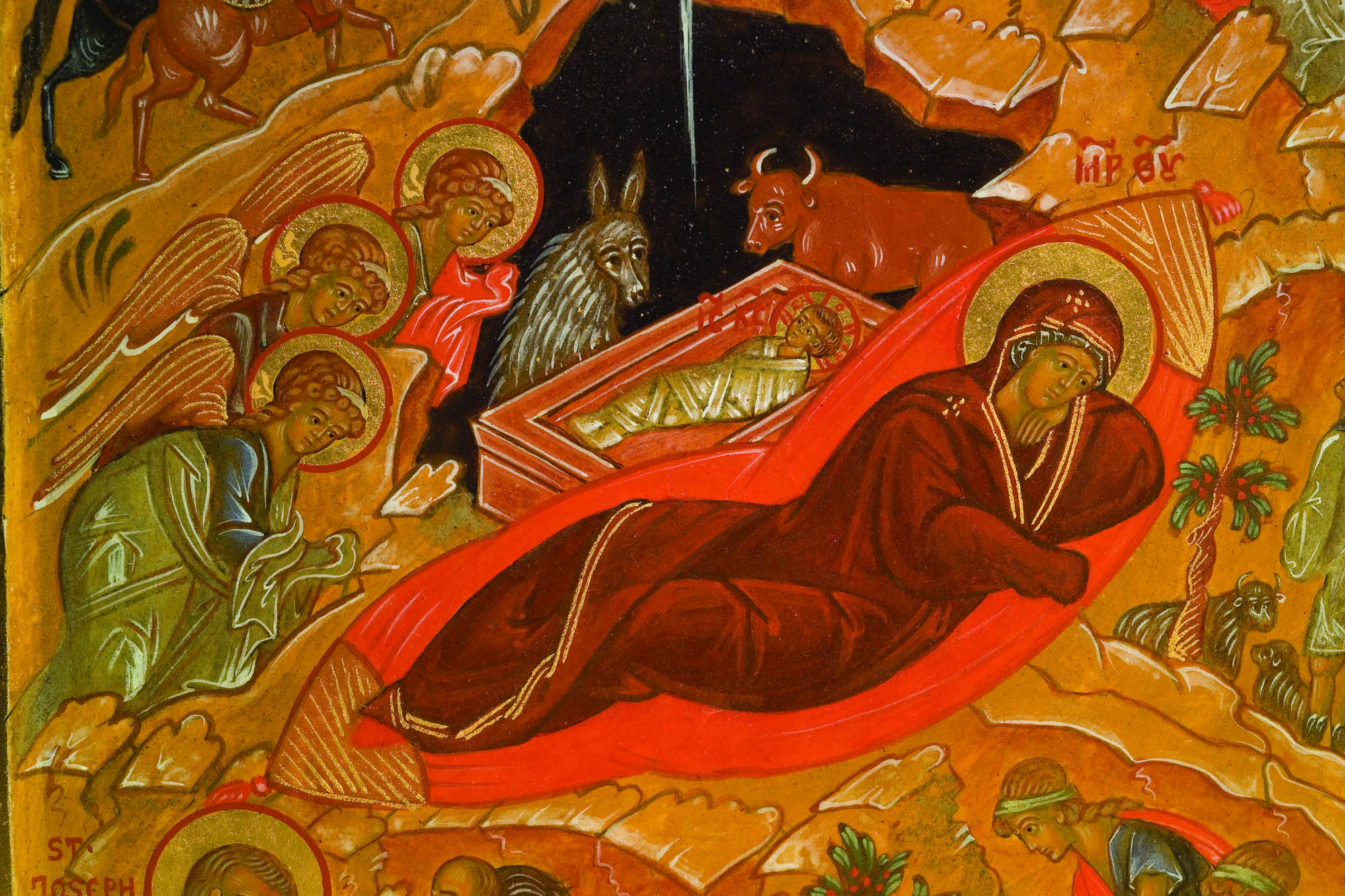 Detail from Triptych of the Holy Nativity of Christ, Russian Orthodox icon by Ksenia Pokrovsky. Photo: Jason Dowdle.