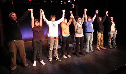 Actors taking a bow.