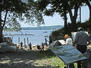 Artists painting by the Gloucester Harbor.