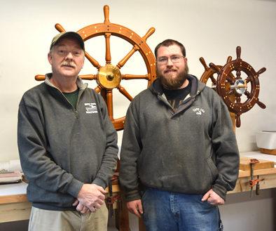 Bob Fuller and his apprentice John O'Rourke, marine joinery, 2017. Photo: Maggie Holtzberg.