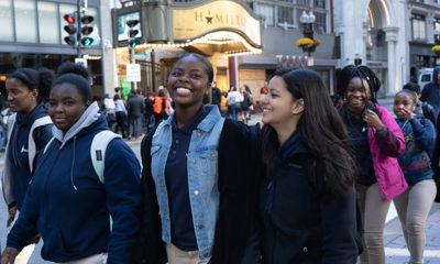 Young people going to see Hamilton in Boston.