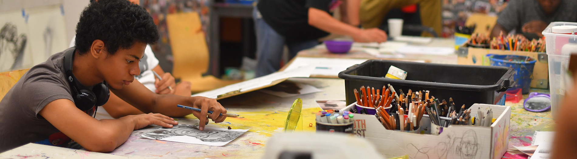 Young man working in RAW Art Works studio