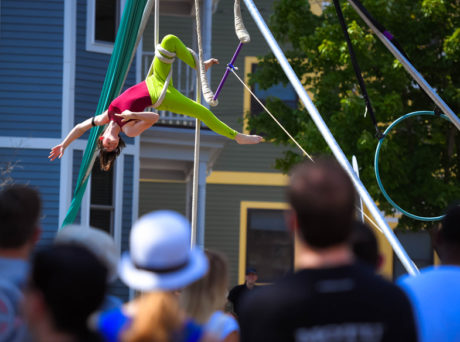 Aerial artist performing at a festival in Somerville.