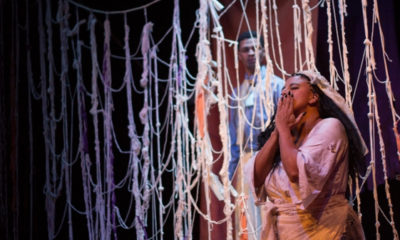 From Fresh Ink Theatre production of La Llorona by Cecelia Raker. David J. Castillo as Gatekeeper and Maria Hendricks as La Llorona. Photo by Paul Fox.