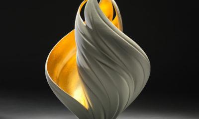 Jennifer McCurdy (Crafts Fellow '19), GILDED VORTEX VESSEL (2017), Porcelain, 24 Carat Gold Leaf, 13x10x9 in