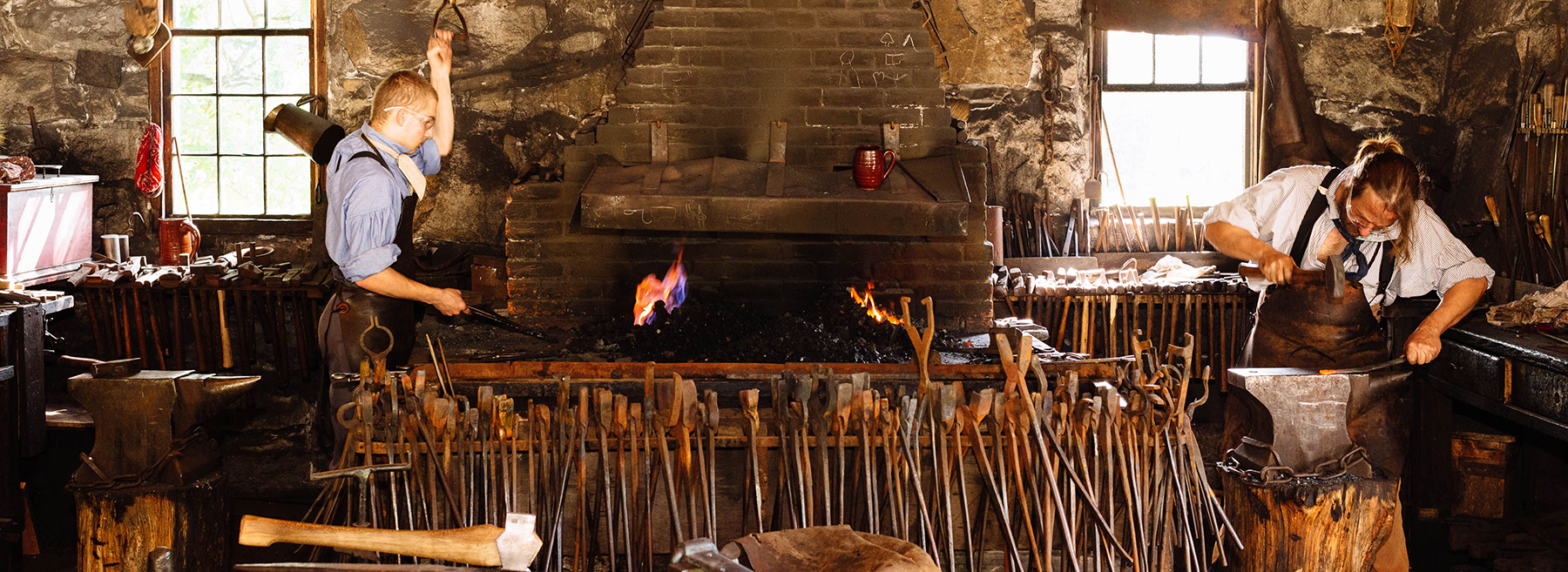 Blacksmiths working at Old Sturbridge Village