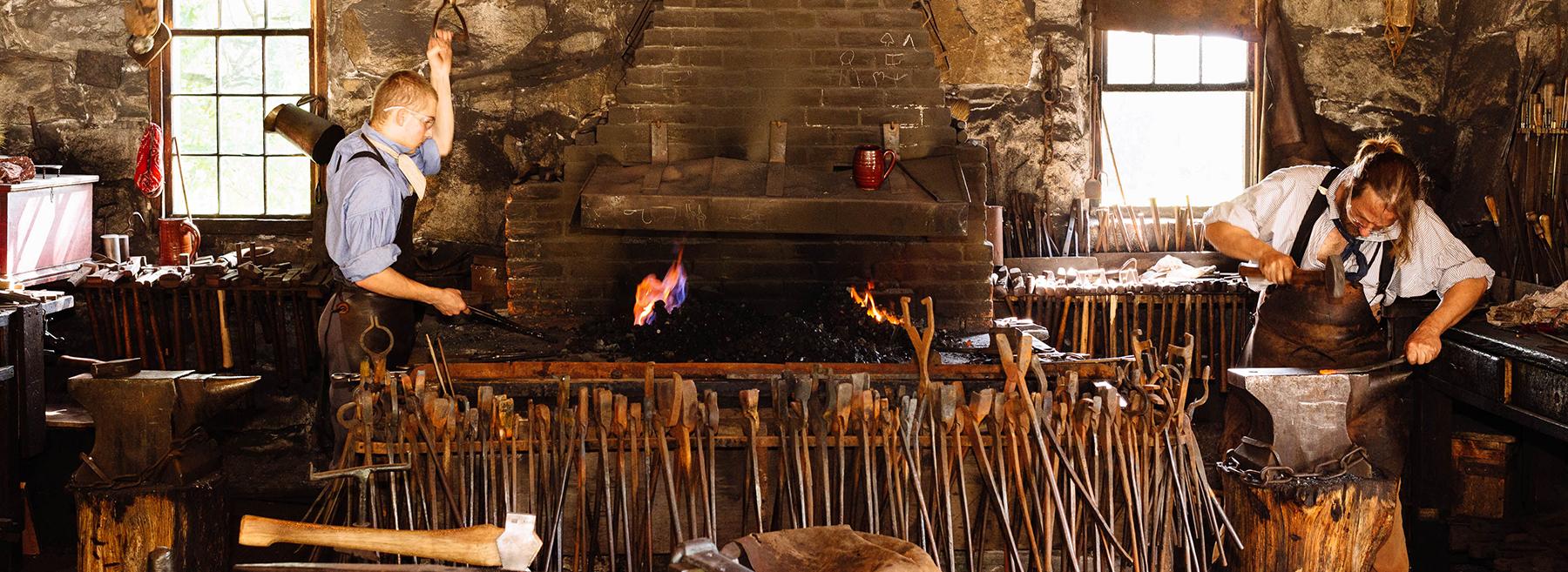 Blacksmiths working at Old Sturbridge Village