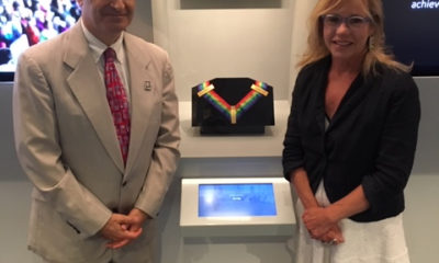 Steven M. Rothstein, Executive Director of the John F. Kennedy Library Foundation, with Anita Walker in the Legacy Room of the JFK Museum.