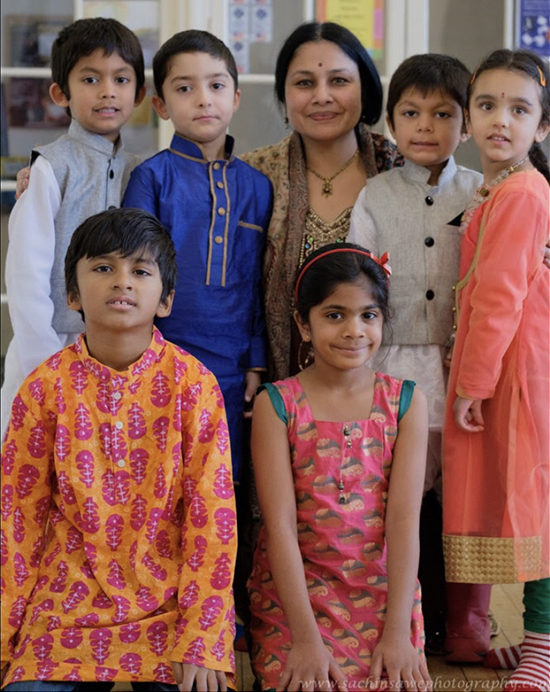 Shuchita Rao with youth from the Indian Vocal Group.
