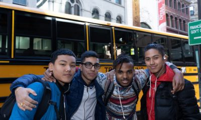 Students going to see Hamilton in Boston, supported in part by Big Yellow School Bus.