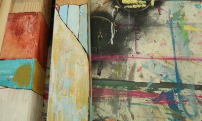 Detail of an artist's workstation