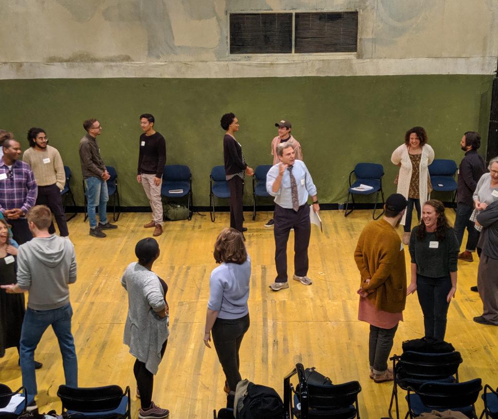 CYD Teaching Artist Fellows do an exercise with Eric Booth.