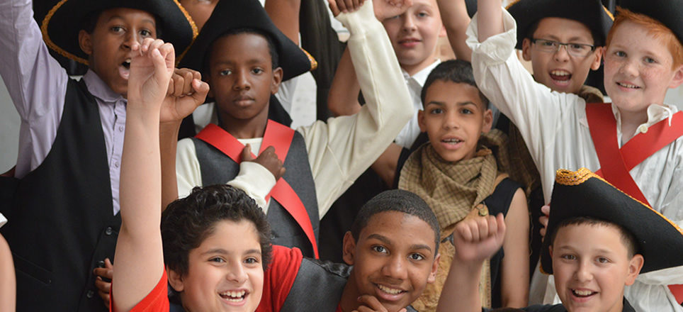 Fifth grade students just before performing an original play on the American Revolution, a project with Enchanted Circle Theater.
