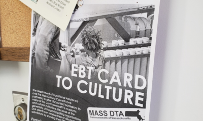 An EBT Card to Culture flyer on a bulletin board at The Hitchcock Center for the Environment.