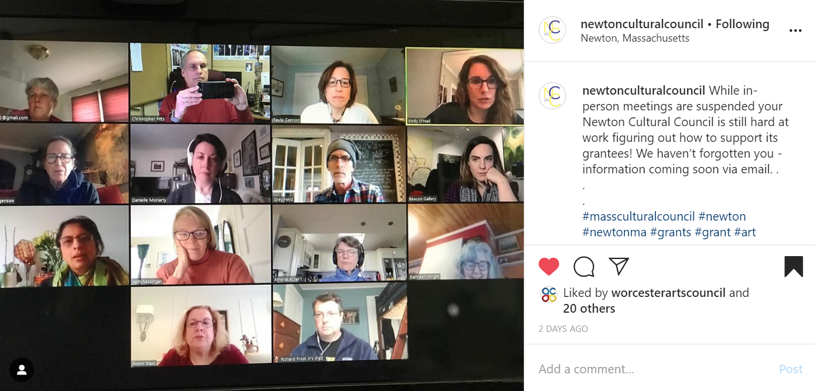 Screen shot of a Zoom meeting showing a grid of people's faces.