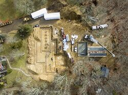 Aerial view of new facility construction
