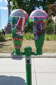 Public Art Parking Meter in Greenfield.