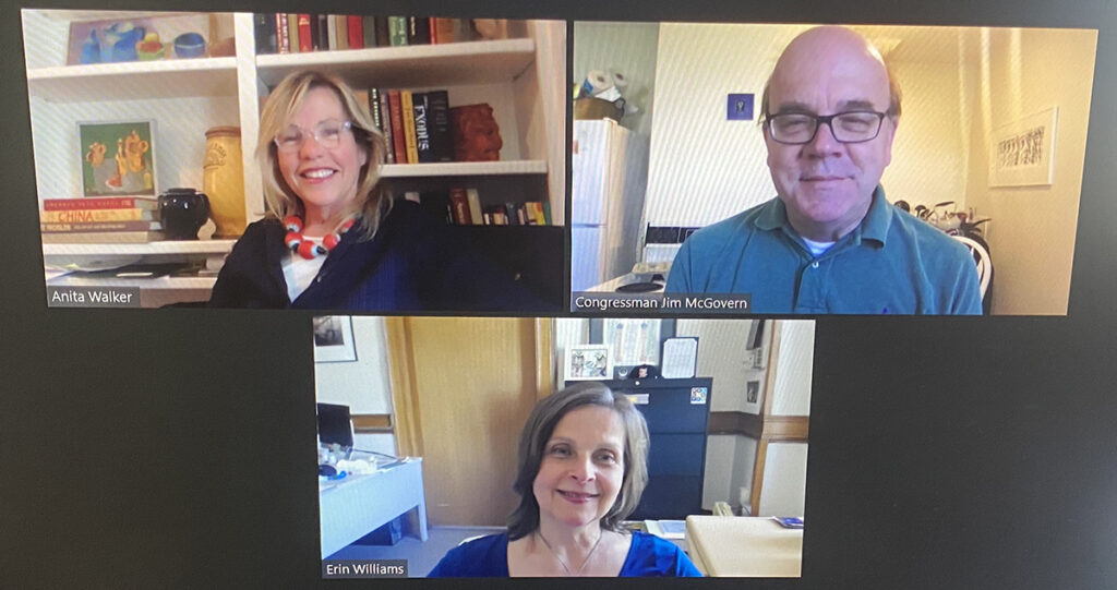 Screen shot of the zoom Town Hall Forum with Congressman Jim McGovern, Anita Walker and Erin Williams