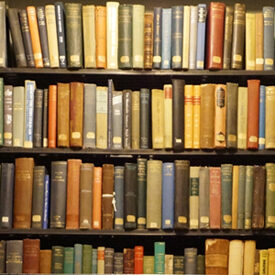 Detail of book shelf in Boston's Literary Cultural District