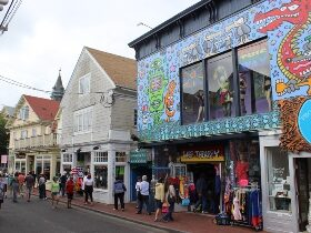 Visitors walking around the Provincetown Cultural District.