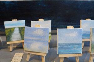 Mini paintings on easels