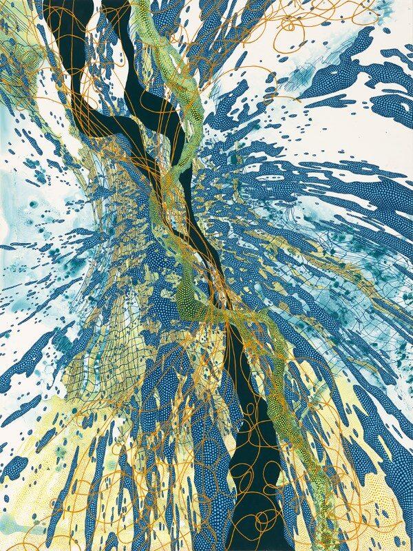 Lynda Schlosberg (Painting Fellow '20), TUNING IN (2019), Acrylic on panel, 40 x 30 x 2 in.
