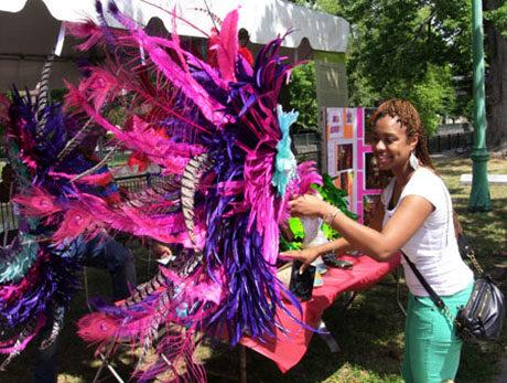 Caribbean Carnival headdress on display in the folklife area of the Lowell Folk Festival, 2012.
