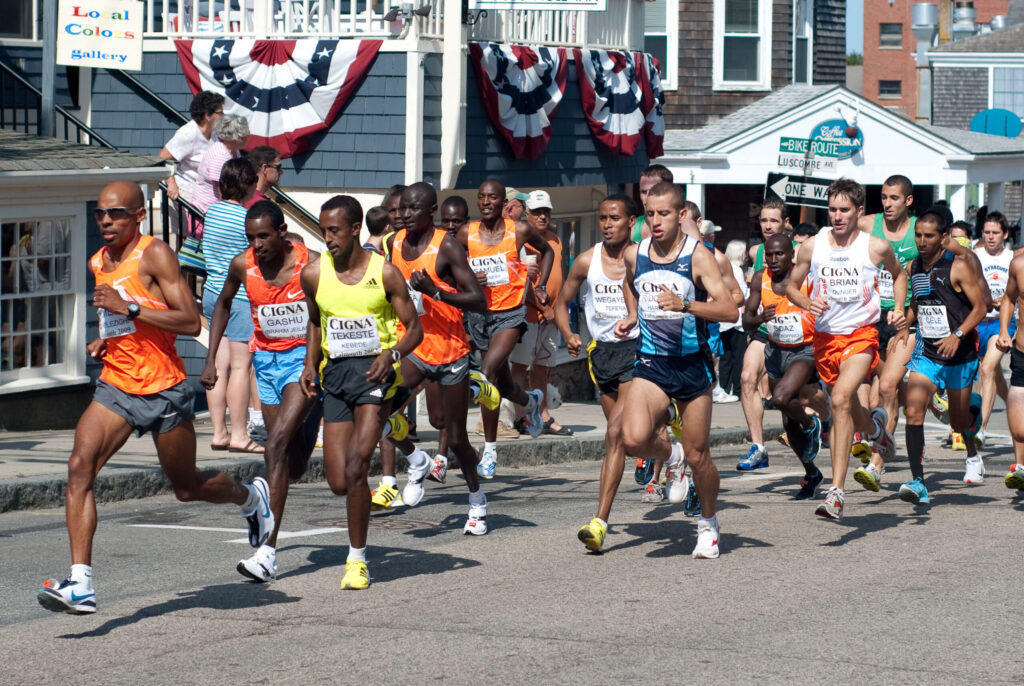 Starting line of the Falmouth Road Race.