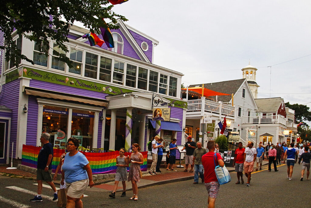 People strolling on Commercial Street in Provincetown, MA