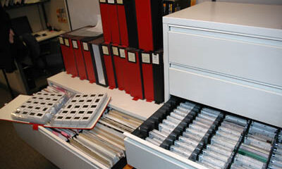 Slides in archival binders and cassettes.