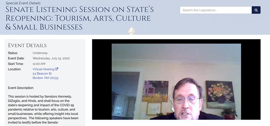 Screen shot of Dave Slatery providing testimony to the MA Senate
