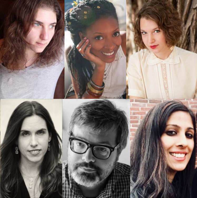 Literary artists who've shared a reading of their work (clockwise from top left): Alexis Ivy, Simone John, GennaRose Nethercott, Shilpi Suneja, Jacob Strautmann, and Anna VQ Ross.]
