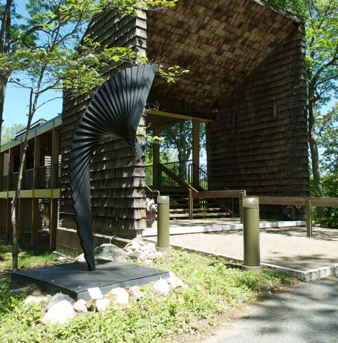 Sculpture outside of the entyway to Fuller Craft Museum
