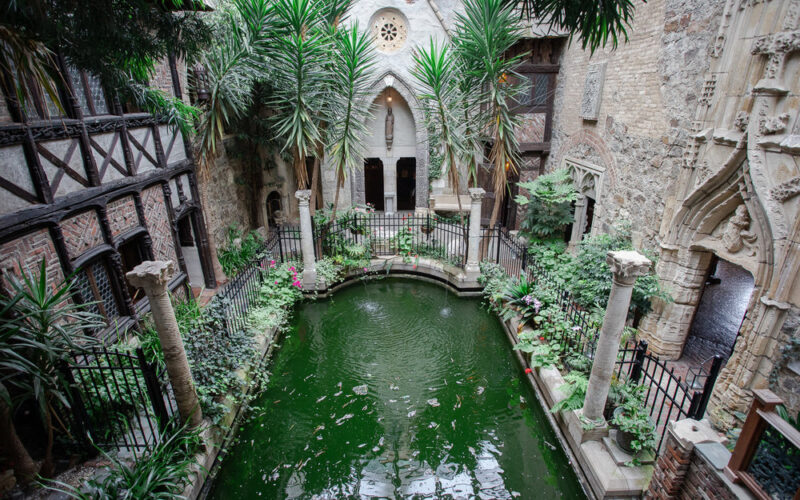Pool in the interior courtyard of the Hammond Castle Museum