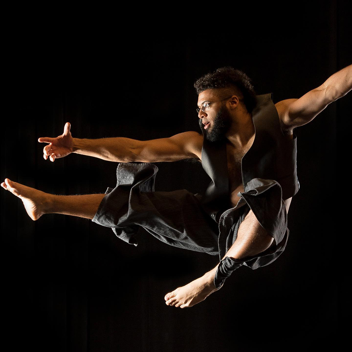 Male dancer leaping in the air