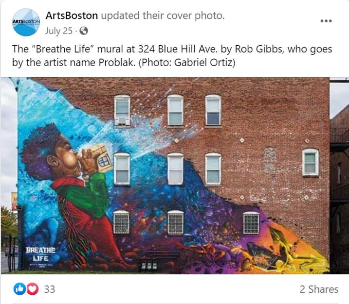 """picture of the """"Breathe Life"""" mural at 324 Blue Hill Ave. by Roy Gibbs (aka Problak)"""