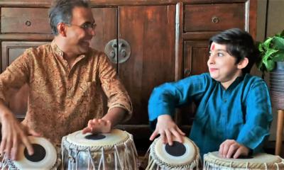 Master artist Sandeep Das playing tabla with apprentice Veerane Pratap, 2020.