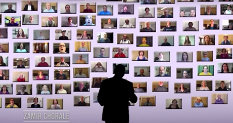 """a black silhouette of a man is overlaid a """"wall"""" of dozens of zoom screens, each one showing a singer"""