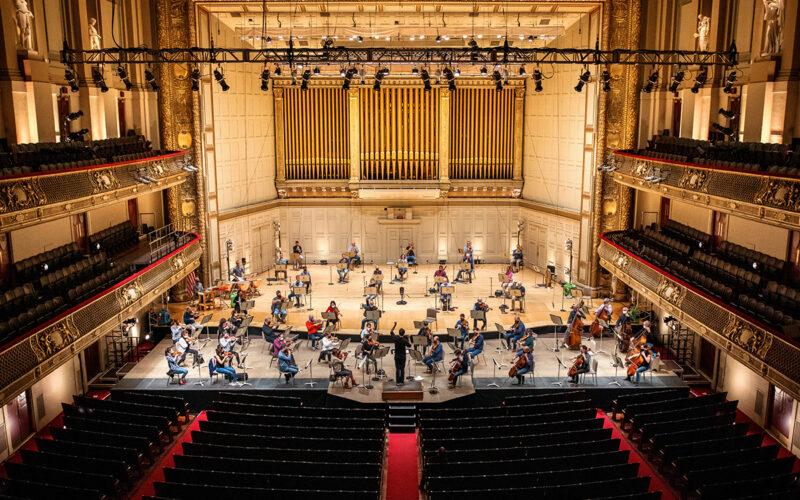 Musicians rehearsing at Boston Symphony Hall