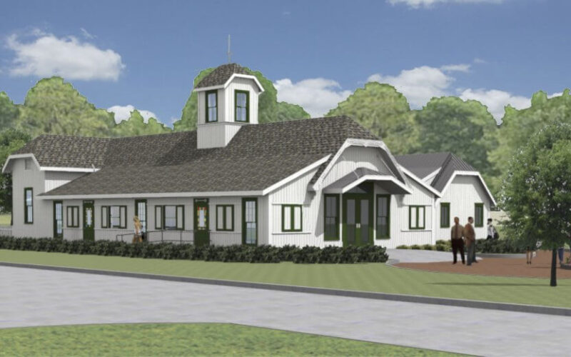 Rendering of updated exterior of the historic Crosby Barn