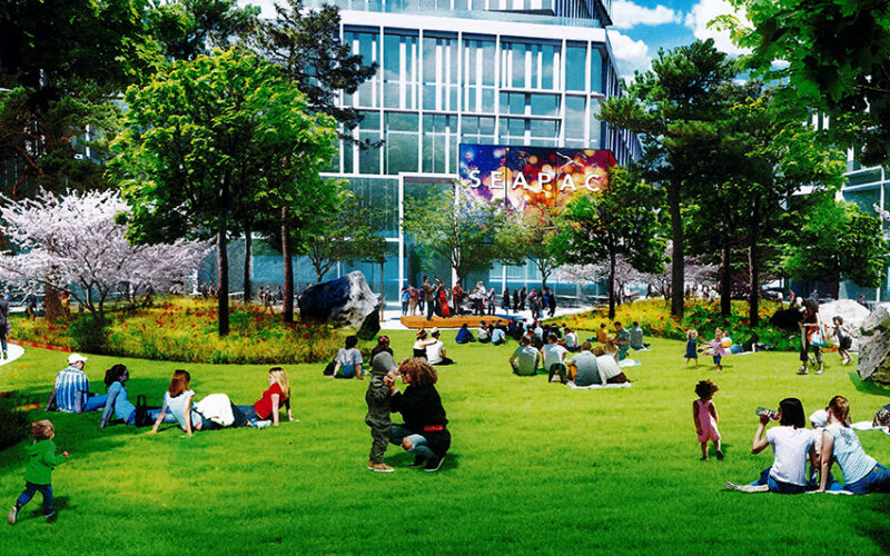 Rendering of new facility and outdoor green space