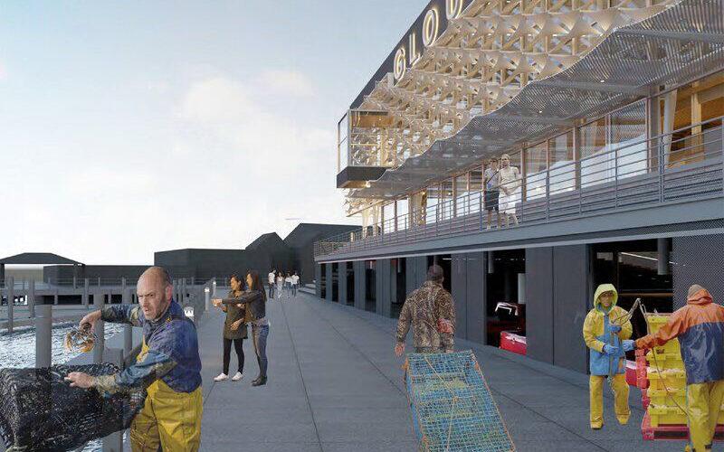 Rendering of outdoor space on harbor