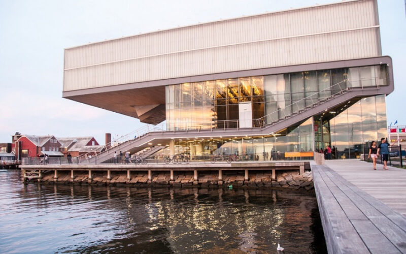 Side waterfront view of the Institute of Contemporary Art building